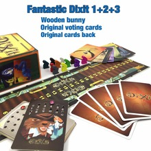 2017 hot board game Dixit 1 2 3 4 5 6  7 with wooden bunny Russian and English instruction cards game for kid children family