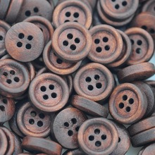 Hoomall Sewing Accessories Natural Wooden Buttons Sewing Scrapbooking 4 Holes Round Brown 12mm Dia. 200PCs