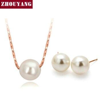 Simple OL Dama Estilo de Perlas de Imitación de Oro Rosa Plateado Collar de La Joyería Del Pendiente Para Las Mujeres Al Por Mayor ZYS358