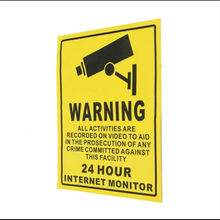 24-hour security camera system warning signs stickers patch monitoring environmental wall stickers 200mmx250mm