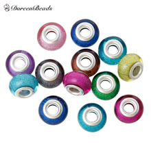 Buy DoreenBeads Resin European Style Charm Beads Round Random Glitter 14mm x 9mm, Hole: Approx 5.1mm, 20 PCs 2016 new for $2.15 in AliExpress store