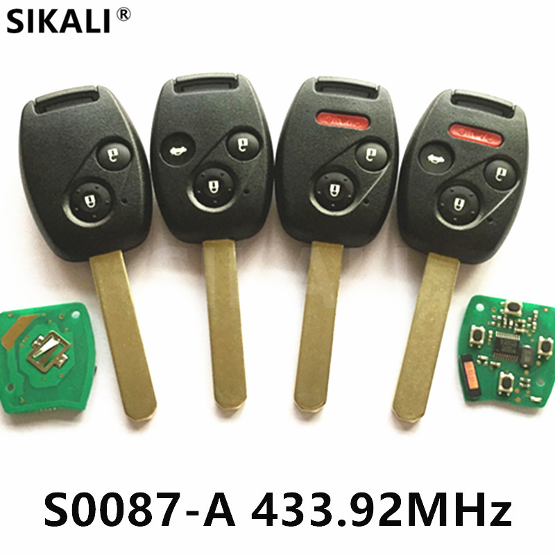 Remote Key for S0087-A 433MHz for Honda Accord Element CR-V HR-V Fit City Jazz Odyssey Shuttle Civic Car Keyless Control Fobik(China)