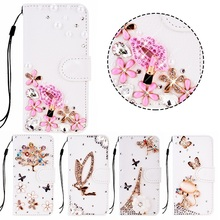Coque for Samsung Galaxy S3 Mini S4 Mini S5 Leather Case Fundas Luxury Rhinestone Diamond Crystal Strass S3 S4 S5 Wallet Bag