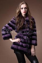 Fashion new Ladies' Rex Rabbit fur coat,High quality Rex rabbit goatswool stripe fur coat,Chinchilla style fur coat garment FS06