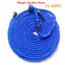 25-200FT Magic flexible Expandable Garden Hose reels +spray Gun Garden Water Hose Car watering connector Blue & Green