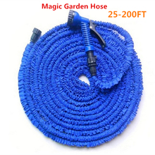 25-200FT Magic flexible Expandable Garden Hose reels +spray Gun Garden Water Hose Car watering connector Blue & Green(China)