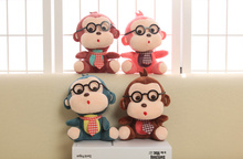 TOP HOT , 4Colors Delicate Glasses Monkey Plush Stuffed TOY , Sucker Pendant Plush DOLL , Bouquet Flower Gift Plush Toy Doll