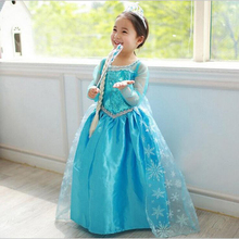 2017 Summer Baby Girl Dress Princess Vestidos Fever 2 Anna Elsa Dress Birthday Party Dress Children Clothing For Kids Costume(China)