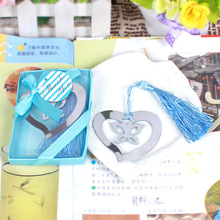 200pcs/lot Free Shipping Heart Butterfly Shape Promotion Bookmark Antique Silver Fashion Bookmarks With Tassels Wholesale