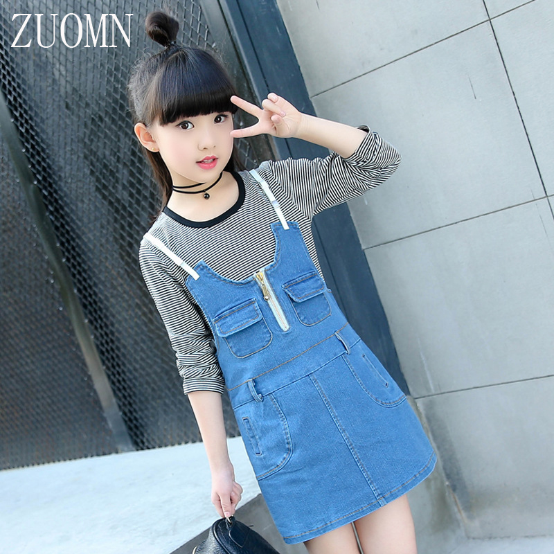 Spring Girls Outfits Kids Girls Suit Cowboy Suspenders Skirt Shirt Set Kids Clothes Long Sleeve Shirt + Cowboy Braces YL455<br>