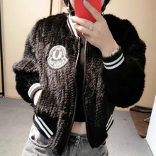 Knitted Mink Fur Coat for Women New Arrival Real Fur Baseball Jacket Knitted Mink Fur Pilot Jacket Lady mf0001(China)