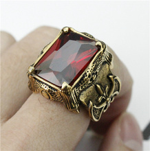 Top Quality Shinning Golden Red Crystal Stone Anchor Ring 316L Stainless Steel Top Quality Biker Ring(China)