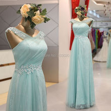 Real Sample Photo Tulle over Lace Mint Prom Dress Floor Length Formal Evening Gown with Lace Appliques vestido de festa longo