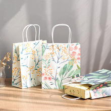 6 pcs natural plant deisgn paper bag gift packaging birthday party candy holding