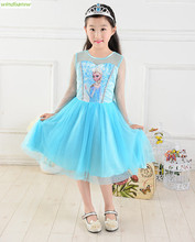 lace sleeve Lolita Elsa Dress Children Clothing Summer Dresses Girls Pajamas Costume Princess Vestidos Infantis Clothes kid050