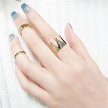 Gold and Silver Color Rings 2017 New Fashion Women Crown 3Pcs/Set Fashion Design Stack Above Knuckle Nail Drop Shipping JC27