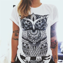 6 Colors New Women Summer Short Sleeve Sunflower Letters Owl Blouse  Loose Cotton Tops Blouse
