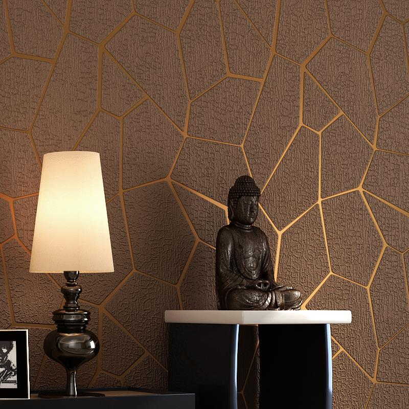 Modern Home Improvement Embossed Geometric 3D Wallpaper Roll Non-woven Suede Leather Ice Crackle TV Background Wallpaper Walls<br>