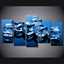 HD 5 piece canvas art Printed Ice Cube blue Painting on canvas room decoration Free shipping/NY-5761