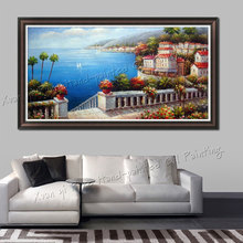 Handmade Wall Art Modern Home Decoration Beautiful Sea Mediterranean Landscape Oil Painting Knife Painting On Canvas(No Frame)