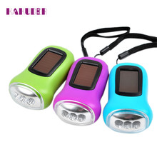 Manual Electricity Generation 3LED Hand Crank Dynamo+Solar Power Rechargeable for Carabiner Camping Flashlight l70608(China)