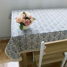 Retro Blue and White Table Cloth with Lace Cotton Print Rectangular Dinning Tablecloths Cover Home Decor(China)