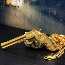 JKL Mens Army Gift Revolver Necklace Solild S.Steel Long Barrel Pistol Gun Gold Pendant Boys Shinning Cool Hiphop Jewelry JF2208(China)