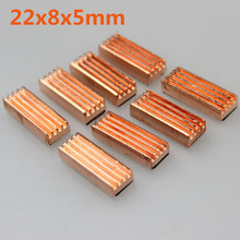 8pcs/set 22x8x5mm Copper Heatsink Heat Sink for DDR VGA RAM Memory IC Chipset(China)