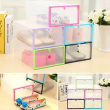 New Multicolor Optional Transparent Clear Plastic Stackable Shoe Box Case Home Storage Container Office Organiser