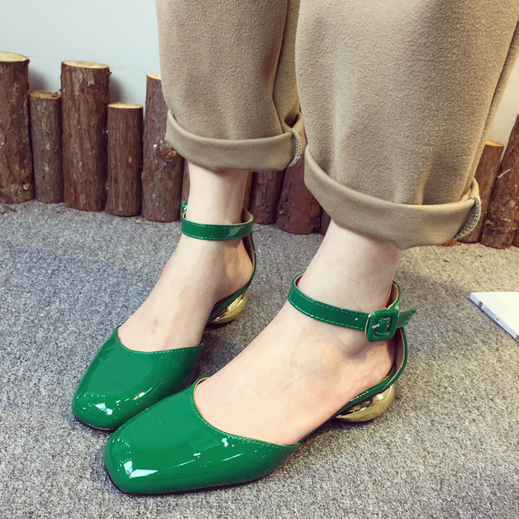 The New Round Of Europe And United States 2017 Explosion Shallow Mouth pumps With Coarse Word Type Belt Buckle Hollow Women Shoe<br><br>Aliexpress
