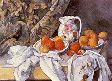hand-painted oil painting reproduction of Cezanne famous artists painting  canvas  Still Life with Curtain and Flowered Pitcher