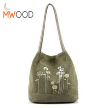2017 Four Seasons Simple Canvas Shoulder Bag Printing Women Large Bucket Handbag Casual Teenagers Floral School Tote Bag Bolso(China)
