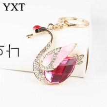 Lovely Goose Swan Duck Crown Lovely Cute Crystal Charm Purse Handbag Car Key Keyring Keychain Party Wedding Birthday Gift