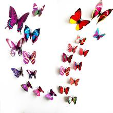 12Pcs/Lot Gossip Girl Same Style 3D Butterfly Wall Stickers Colorful Lifelike Butterflies Decors For Home Fridage Decoration