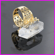 1pc Natural Clear White Crystal  Quartz Point Ring Adjustable Ring Nature Gems Druzy Quartz ring in 24K Gold Ring