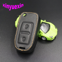 Xinyuexin Leather Car Key Cover FOB Case For VW Amarok Polo Golf MK4 Bora Jetta Altea Flip Remote Car Key Jacket With Keychain(China)