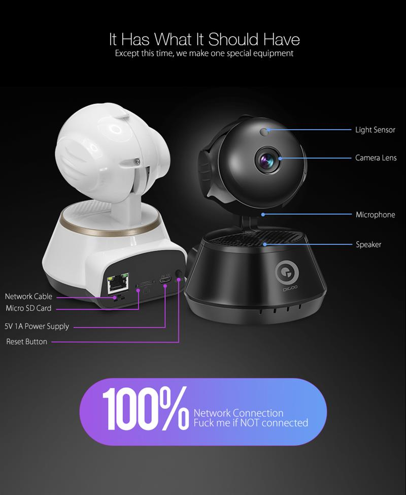 DIGOO DG-M1X HD 960P Wired Wireless Wifi Pan/Tilt Night Vision Two Way Audio Smart Home Security IP Camera Onvif Baby Monitor