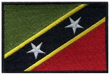 "Saint Kitts and Nevis embroidery flag 3"" wide /pin up/embroidered applique/handmade crochet dress"