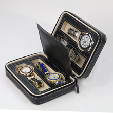 4 grid portable watch storage box/Short travel business trip watch box unisex cortex ewelry boxs(China)