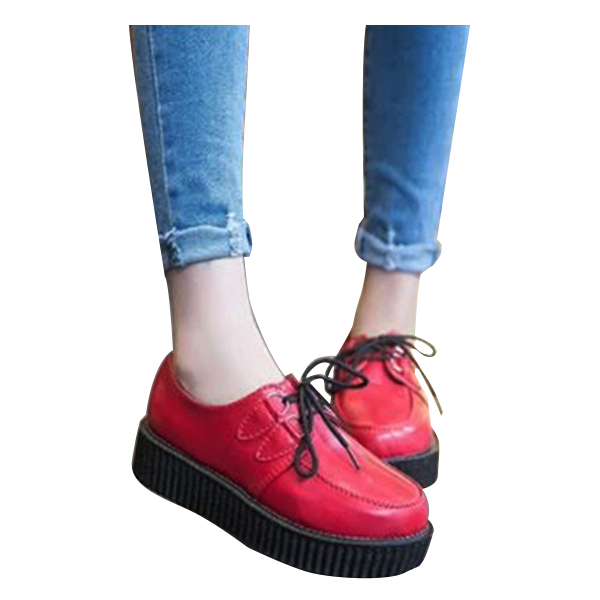 Thick crust Tie shoes Female Platform shoes Red 36<br><br>Aliexpress