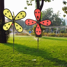 Bumble Bee / Ladybug Windmill Whirligig Wind Spinner Home Yard Garden Decor G22 Drop ship(China)
