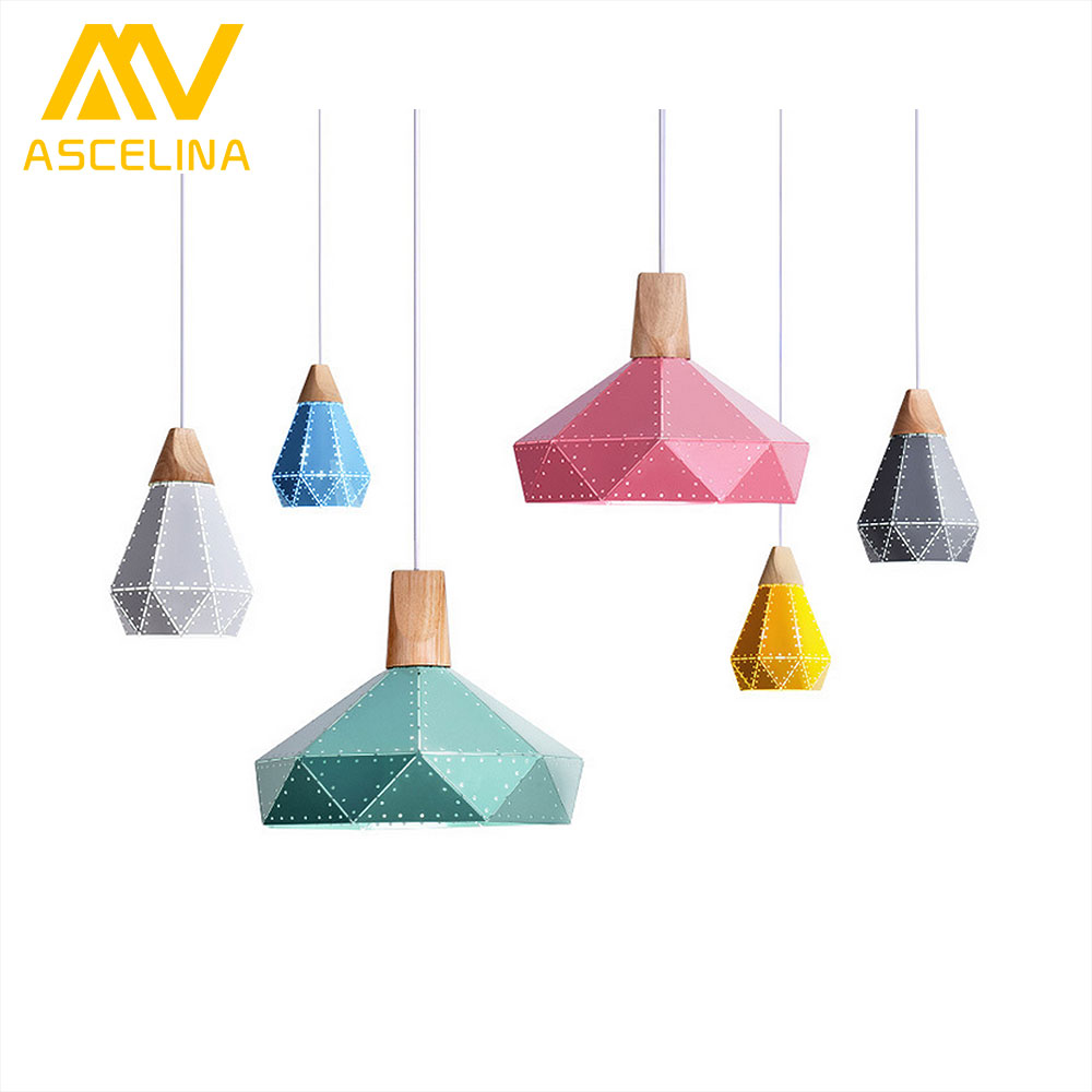 ASCELINA modern pendant lights Nordic led lamp Christmas decorations for home lighting wood lamps for living room with lampshade<br>