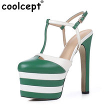 Coolcept  Sexy Lady Genuine Leather High Heel Sandals Women Ankel Strap Platform Summer Shoes Sexy Party Club Sandal Size 33-40