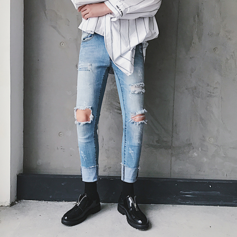 Mens Knee Ripped Jeans Street Wear Men Jeans Destroyed Fashion Casual Jeans PantsОдежда и ак�е��уары<br><br><br>Aliexpress