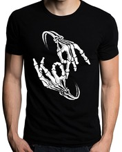 Best T Shirt Websites Brand Korn Band Skeleton Sign Bone Logo O-Neck Short Sleeve Best Friend Mens Shirts(China)