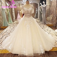 100% Real Photos 2017 New Style New Bandage Crystal Lace Appliques Bead Luxury Wedding Dress Bridal Dress Gown vestido de noiva