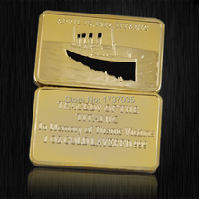 5pcs/lot Titanic Gold Bullion Bar coins, 24k pure gold plated bullion bar coin.free shipping