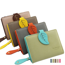 2016 Brand New Women Leaf Hasp Wallet Fashion Short Middle Long Leather Coin Purses Card Holders Girls Money Clutch Bag Carteras