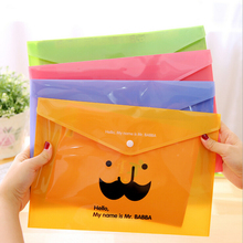 1 Pieces New Creative Moustache A4 Pouch Bag Plastic Cute Korean Office School Stationary Folder Products Document