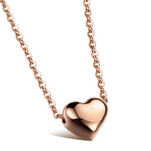 ZT fashion jewelry stainless steel  love small Lady Rose Titanium Necklace heart shape clavicle recommended Girl Jewelry 15